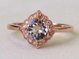 9k Rose Gold 1.15ct Morganite & Moissanite Ring