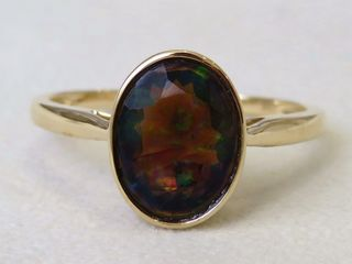 9k Yellow Gold 1.64ct Black Fire Opal Ring