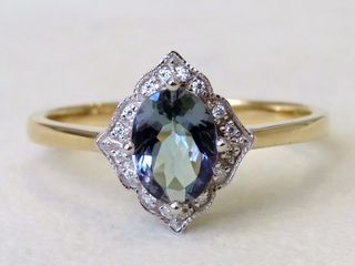9k Yellow Gold Tanzanite & Moissanite Ring