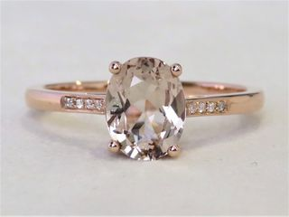9k Rose Gold 1.55ct Morganite & Moissanite Ring