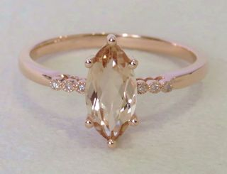 9k Rose Gold 1.1ct Morganite & Diamond Ring