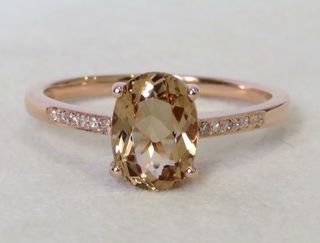 9k Rose Gold 1.56ct Morganite & Diamond Ring