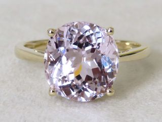 9k Yellow Gold 6.39ct Pink Kunzite Ring