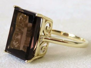 9k Yellow Gold 7.4ct Smoky Quartz & Diamond Ring