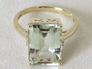 9k Yellow Gold 6.4ct Green Amethyst & Diamond Ring