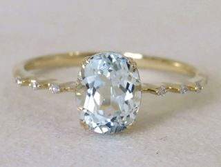 9k Yellow Gold 1.44ct Aquamarine & Diamond Ring