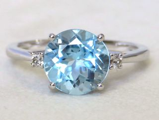 9k White Gold 3.25ct Aqua Blue Topaz & 0.4ct White Sapphire Ring