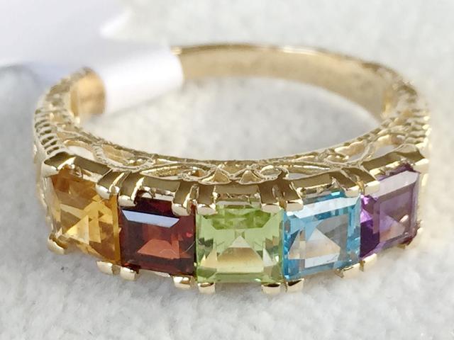 9ct Yellow Gold Amethyst Topaz Peridot Garnet Citrine Ring