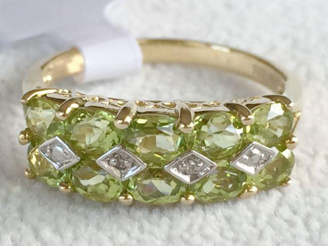 9ct Yellow Gold Peridot & Diamond Ring Gemstone Rings Gold