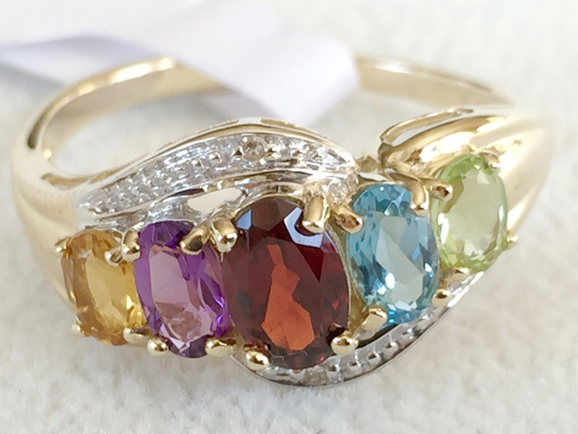 9ct Yellow Gold Multi Gemstone & Diamond Ring