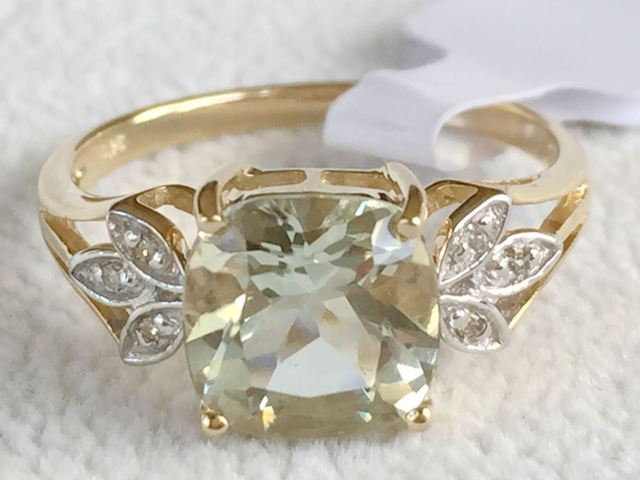 9ct Yellow Gold Green Amethyst & Diamond Ring Gemstone Rings