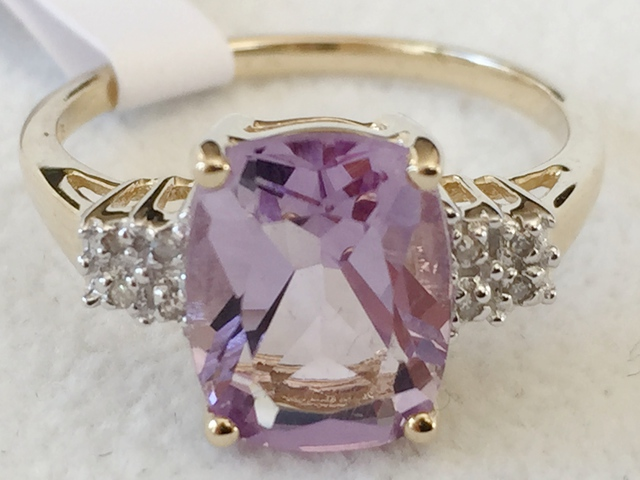 9ct Yellow Gold Rose De France Amethyst Amp Diamond Ring
