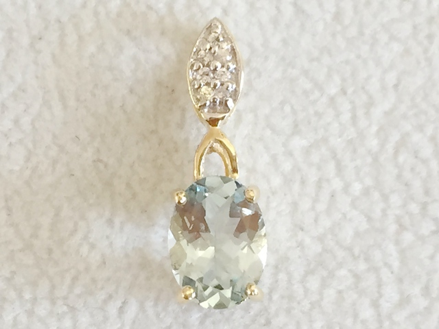 9ct Yellow Gold Aquamarine & White Sapphire Pendant