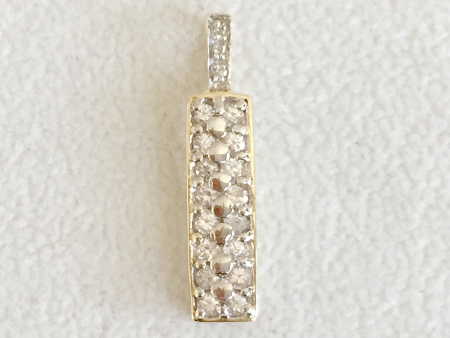 9ct Yellow Gold White Sapphire & Diamond Pendant
