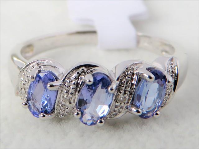 9ct White Gold Tanzanite & Diamond Ring Gemstone Rings Gold