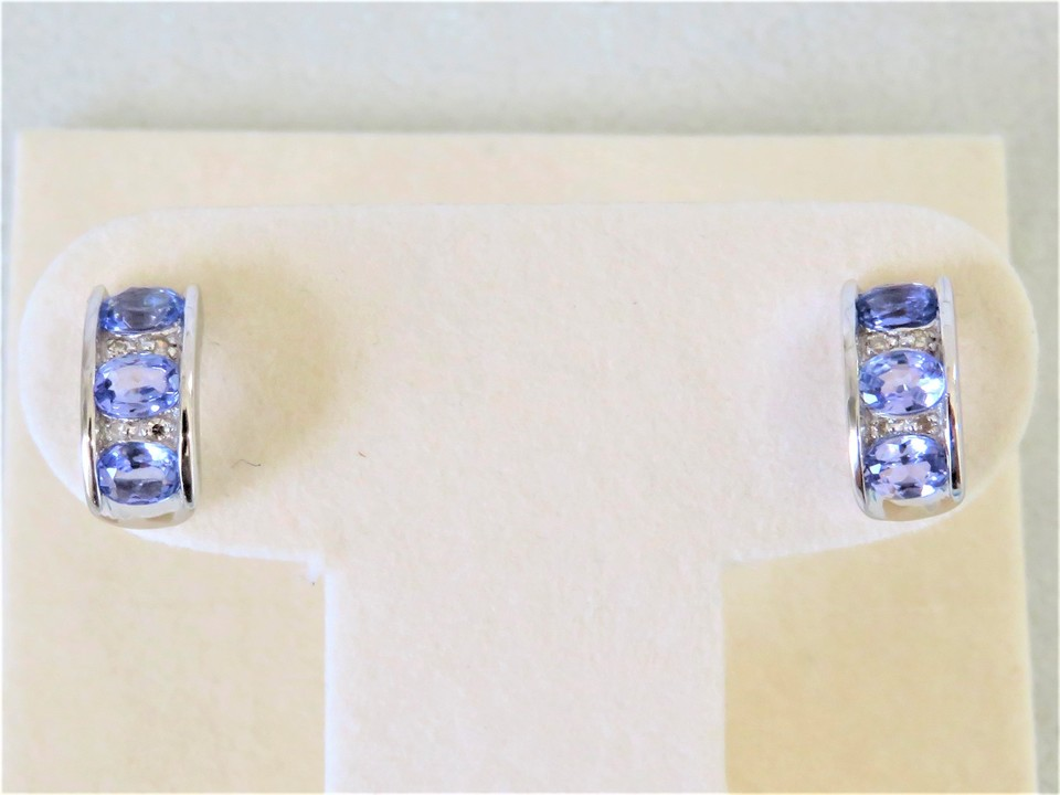 9ct White Gold Tanzanite & Diamond Earrings