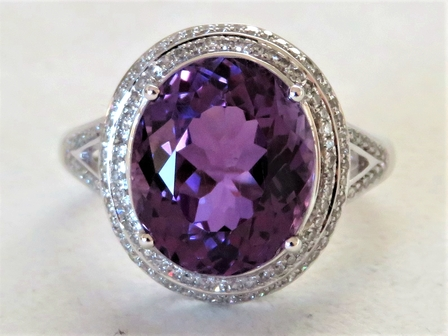 18k White Gold 6.2ct Amethyst & 0.5ct Diamond Ring with Valuation