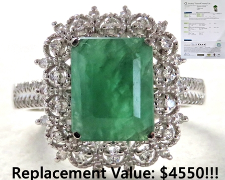 18k White Gold 2.89ct Emerald & 0.35ct Diamond Ring with Valuation