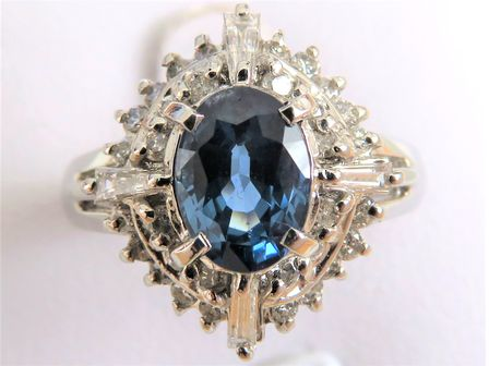 Platinum 1.15ct Ceylon Blue Sapphire & 0.58ct Diamond Ring with Valuation