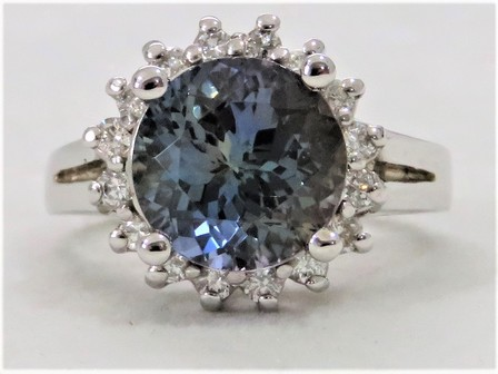 14k White Gold 4.38ct Tanzanite & 0.46ct Diamond Ring with Valuation