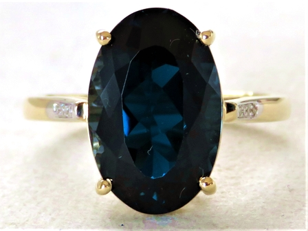 9k Yellow Gold 7.67ct Natural London Blue Topaz & Diamond Ring