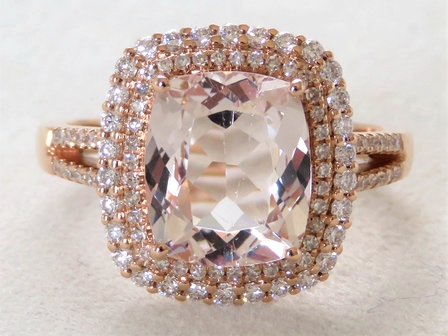 18k Rose Gold 2.66ct Morganite &0.54ct Diamond Ring with Valuation
