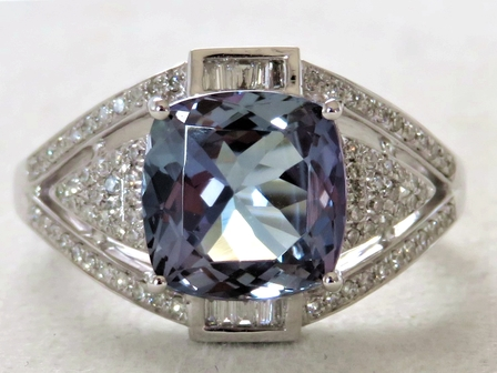 18k White Gold 3.00ct Tanzanite & 0.45ct Diamond Ring with Valuation
