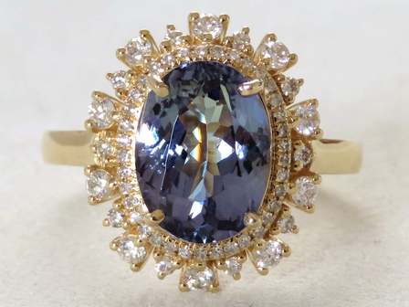 18k Yellow Gold 3.27ct Tanzanite & 0.52ct Diamond Ring with Valuation