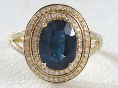 14k Yellow Gold 3.27ct Natural Blue Sapphire & 0.38ct Diamond Ring with Valuation