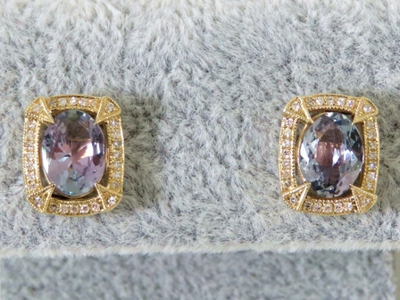 9k Yellow Gold 2.3ct Tanzanite & Diamond Earrings