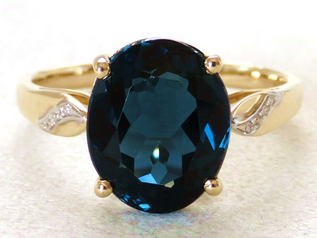 9k Yellow Gold 5.73ct London Blue Topaz & Diamond Ring