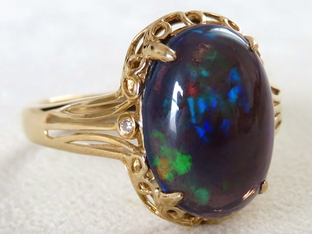 9k Yellow Gold 3.21ct Black Fire Opal & Diamond Ring