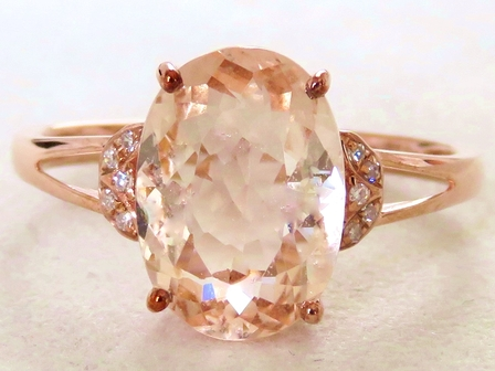 9k Rose Gold 2.81ct Morganite & Diamond Ring