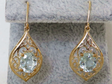 9k Yellow Gold 2.15ct Aquamarine Earrings