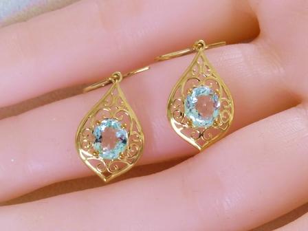 9k Yellow Gold 2 15ct Aquamarine Earrings