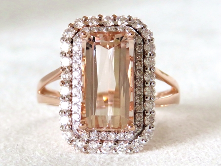 14k Rose Gold 3.9ct Morganite & 0.69ct Diamond Ring with Valuation