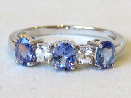 9k White Gold 1.78ct Tanzanite and White Sapphire Ring