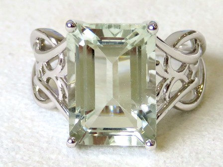 9k White Gold 6.43ct Green Amethyst Ring