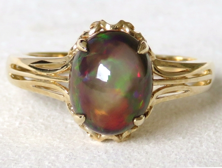 9k Yellow Gold 2.14ct Black Fire Opal Ring