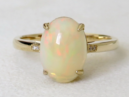 9k Yellow Gold 2.25ct Solid Fire Opal & Diamond Ring
