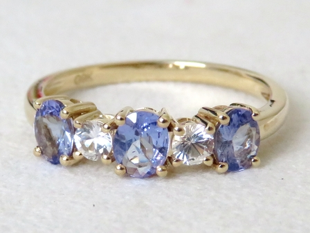 9k Yellow Gold 1ct Tanzanite & Sapphire Ring