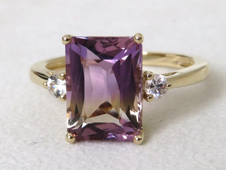 9k Yellow Gold 3.36ct Bi Colour Ametrine & Sapphire Ring