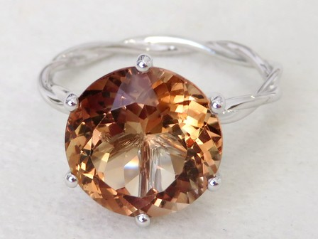 9k White Gold 7.56ct Champagne Imperial Topaz Ring