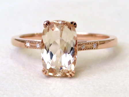 9k Rose Gold 2.18ct Morganite & Moissanite Ring