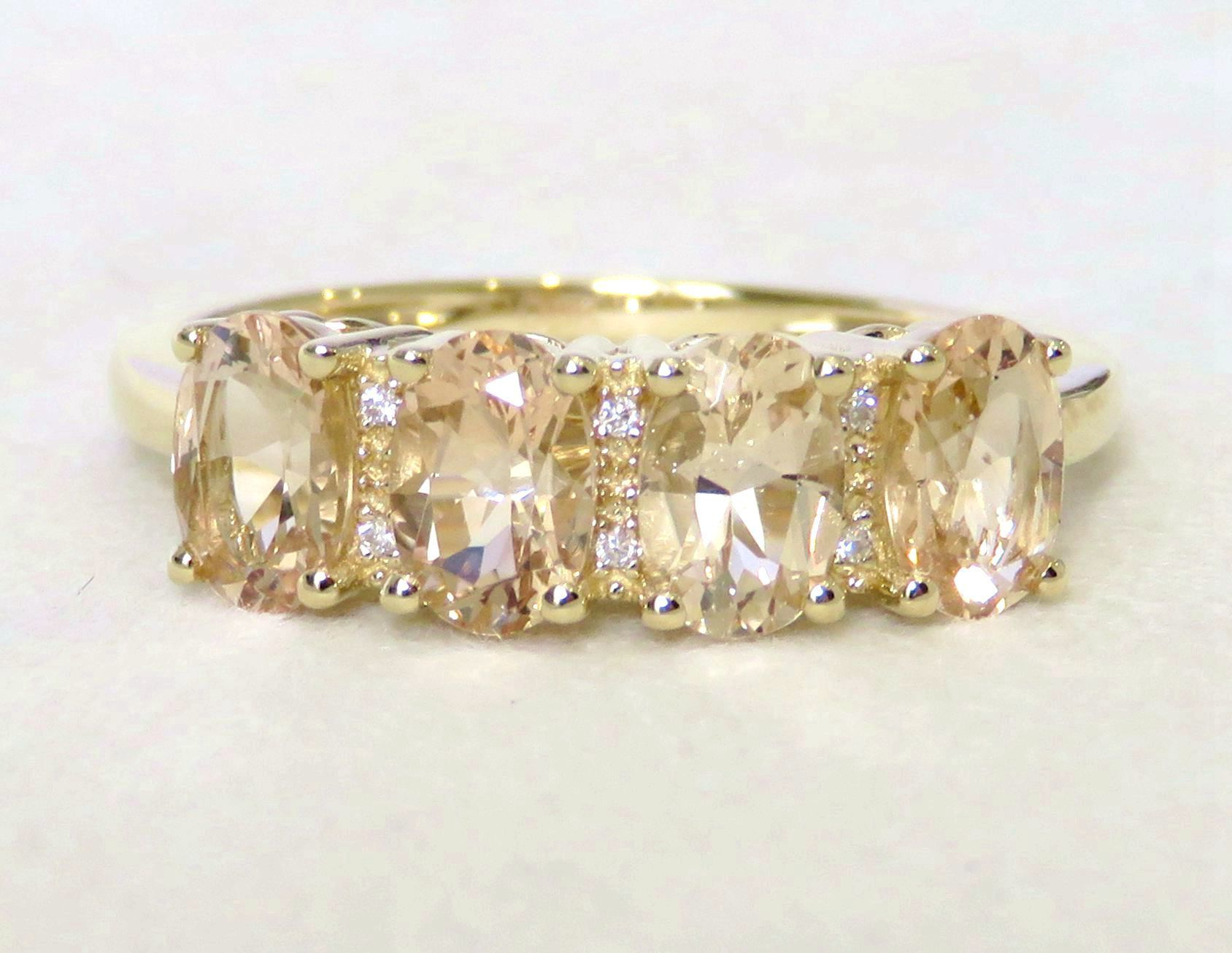 9k Yellow Gold 1.75ct Morganite & Moissanite Ring